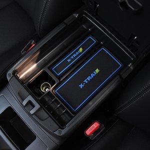 Organisateur de voiture Centre d'accouchement central Boîte de rangement de rangement Console de conteneur de rangement Groove Slot Tapis pour Xtrail X Trail T32 2014-2021 Auto