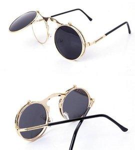 النظارات الشمسية steampunk جولة مصمم البخار الشرير المعادن النساء طلاء الرجال الرجعية دائرة الشمس الزجاج