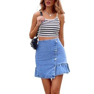 Summer Casual Women Mini Denim Skirts High Waist Asymmetrical A-Line Ruffle Short Jean