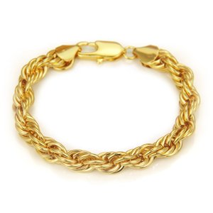 Men's Bracelets Trendy Fashion Twisted Rope Chain Bracelet High Quality Gold Plated Hip Hop Jewelry for Men Party