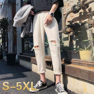 Men's Jeans Summer Losse Gates Plus Size 5xl Oversize Hip-hop Single-length Man Straight Denim Broek Teens Washed Stylish Chic