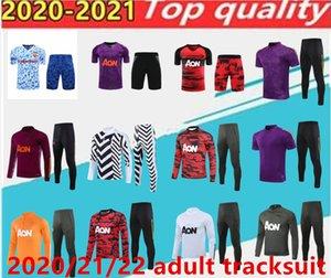 2020 2021 Manchester Former costume Hommes Veste Martiale Rashford Football Sportswear pied Jogging Pogba United Soccer TrackSuit Top Qualité