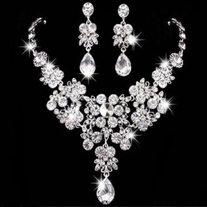 2021 Hot Selling Women Fashion Korean Style Crystal Wedding Earrings Adjustable Pendant Necklace Bridal Jewelry Set