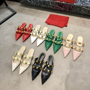 2021 VG Gold Rivet Sandalias Diseñadores de Lujo Slippers Slippers Slipers Slides Sliners Calfskin All-Match Stylist Shoes 6,5 cm Tacones altos con caja