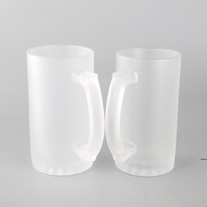Sublimation Blank Wine Glasses Transparent Frosted Glass Beer Steins Creative Personality DIY Mug Household Bar Supplies 16oz EWA5222