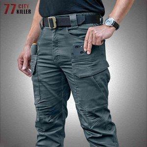Hommes tactiques IX11 Coton Élasticité multi-poche Cargo Pantalons Mâle Étanche Combat Swat Armée Travail Mens Militaux