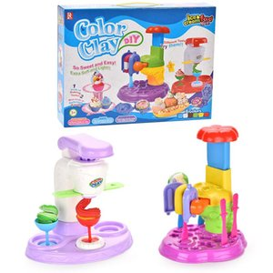 Ice Cream Party Pretend Play House Toy DIY Colorful Mud Ice Cream Machine Fun Modeling Clay Dough Playset Kitchen Kids Girls Toys