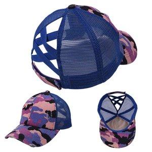 2021 Designers d'été Mesh Ball Chapeau Femmes Filles Criss Croix Croix Panneau de baseball Casquettes Camouflage Camo Camo Sports Visière Net Cap d'extérieur GG34STUY