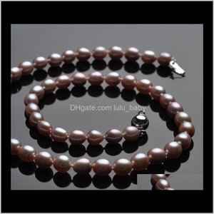 Wholesale Beautiful 67 Mm Rice Shaped Natural Pearl Necklace Hfyy07 7Yc0B Beaded Necklaces Jsp9M