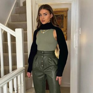 Women Fashion Solid Crop Top Summer Knitted Tank Tops Za Turtleneck Pullover Sexy Sleeveless Sweater Slim Jumper Streetwear 210521