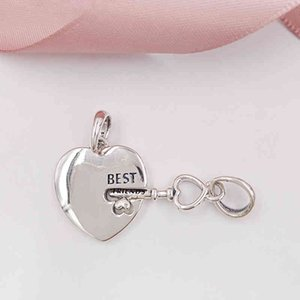 Authentic 925 Sterling Silver Beads Best Friends Heart & Key Pendant Charms Fits European Pandora Style Jewelry Bracelets & Necklace 398130