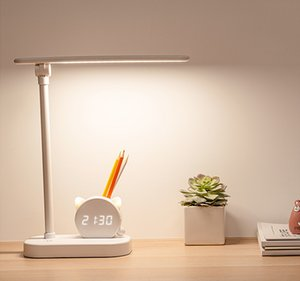 Table lamp pen holder desk with clock eye protection student dormitory study bedside large capacity super long endurance lamp top