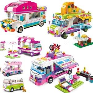 Creator City Outing Bus Compatible Friends Camper Van Camping Car Princess Model Building Blocks Sets Bricks Toys For Girls