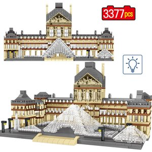 3377Pcs World Famous City Landscape 3D Diamond Mini Model Paris Louvre Architecture DIY education Building Blocks Child Toy Gift X0503