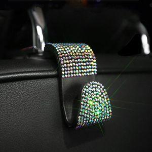 Hook Hanger 2pcs Multifunction Interior Practical Storage Space Saving Holder For Handbags Rhinestone Car Headrest Seat Back