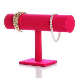 Nuovi gioielli di moda display di gioielli di velluto di uno strato display di gioielli a T-bar stand per braccialetti orologio 3 colori 251 r2