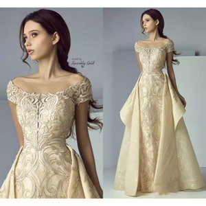 Luxury Gold Prom Dresses Lace Applique Evening Gowns Off Shoulder Overskirt Middle East Plus Size Special Occasion Dresses