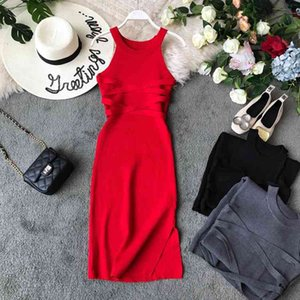 Casual Dresses Ladies Knitted Bodycon Sleeveless Slim Pencil Women tight Cross Belt Over Hip Solid Color Base Long 9SX8