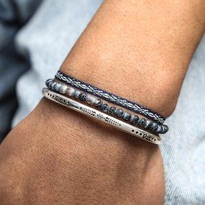 Beaded, Strands Vintage Silver Color Men's Bracelet Set Natural Lava Stone Energy Beads Bangle Tibetan Handmade Weave Knot Rope Jewelry Gift