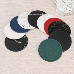 Mats & Pads 6PCS Creative Marble PU Leather Drink Coffee Cup Mat Tea Pad Dining Table Placemats Chic Home Decoration Tableware