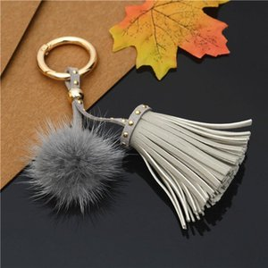Leather Tassels Key Chains With Fur Ball Pom Keychain For Women Bag Car Pendant Keyrings Jewelry Holder Keychains