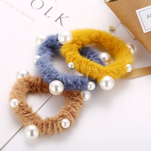Imitation Pearl Satin Fake Fur Cheveux Scrimesfies Soft Elastic Cheveux Bands Femmes Soux Souffle Hear Hair Accessories Porte-Ville
