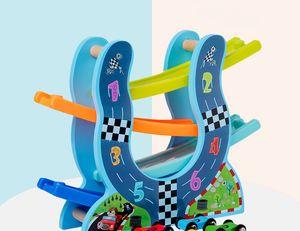 Wooden ramp dinosaurs gliding rail cars car back good boring toys wholesale cartoon animals