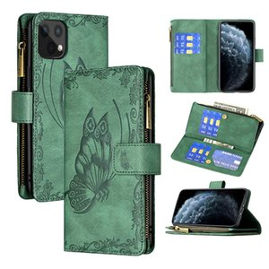 Pour iPhone 12 11 Pro Max XR XS XS X 7 8 Plus Portefeuille Portefeuille Papillon Fermeture magnétique à fermeture à glissière de fermeture à glissière Folio Folio