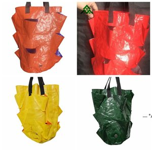 PE Strawberry Planter Bag Highly Breathable Grow Pot Plante Bags With Handles Tree Fabric Pots Root Container Plants Flowerpot Gard FWF9812