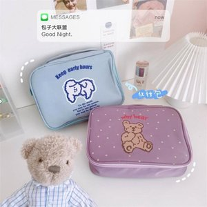 New Nylon Korea Cute Ins Bear Cosmetic Bag Pouch For Women Large Capacity Home Storage Makeup Beauty Case Bags 210322