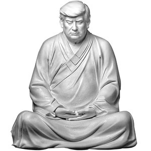 Former US President Donald Trump Resin Buddha President Statue Handmade Model Souvenir Trump 2024 Xitian Listening Buddha Statue Office Desk and Home Accessories