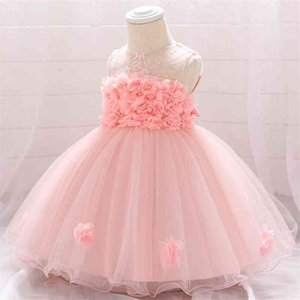 Toddler Infant Princess Dresses For 1 Year Birthday Newborn Girl Summer Baby Baptism Dress 210317