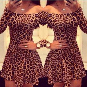 Casual Dresses Women's Clothes Leopard Print Vintage Dress Off Shoulder Bodycon A Line Daily Vestidos Female 2021