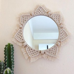 Mirror Round Bohemian Macrame Hand Made Cotton Rope Home Hanging Wall Decoration Sun Flower Shape Mirrors