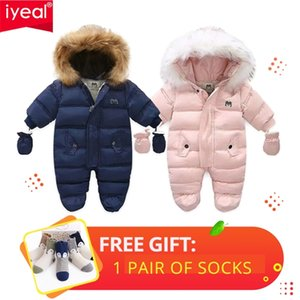 IYEAL Winter Baby Clothes With Hooded Fur born Warm Fleece Bunting Infant Snowsuit Toddler Girl Boy Snow Wear Outwear Coats 210910
