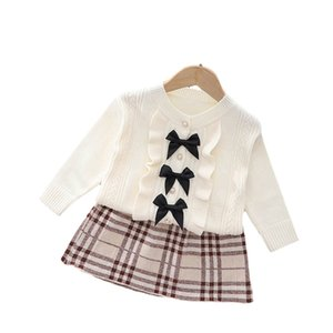 Girls Sweater Sets Kids Clothing Baby Clothes Outfits Autumn Winter Tops Knitting Patterns Cardigan Coat Plaid Skirt Suits 2Pcs B8353