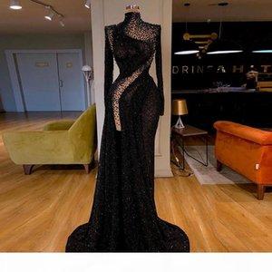 Aso Ebi 2020 Mermaid Black Evening Dresses Beaded High Neck Prom Dresses High Split Party Wear vestido de novia