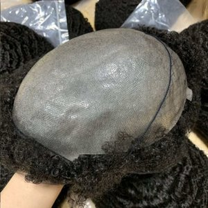 Mens Wig 4mm 6mm 8mm 10mm 12mm 15mm Afro Wave Full PU Toupee African Americans Indian Virgin Remy Human Hair Replacement for Black Men Fast Express Delivery