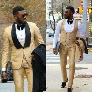 Abiti da uomo champagne per matrimonio scialle nero risvolto uomo blazer slim fit terno masculino costume homme smoking smoking 3 pezzi Blazer da uomo