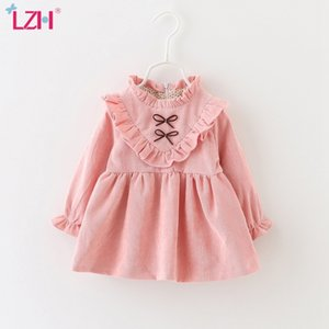LZH Korean Autumn Long Sleeve Cotton Infant Dress Kids Party For Baby Girls Dresses Newborn Clothes 0-3 Years 210315