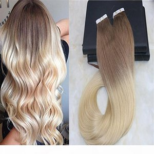 Glue in Hair Ombre Extensions Tape on Brazilian Remy Hair Fading Color Light Brown #6 to Bleach Blonde #613 Dip Dye Color Weft