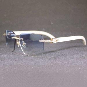 Retro Rhinestone Frameless Sunglasses Men and Women Metal Natural Buffalo Horn Wooden Square Outdoor Shade 6IT3