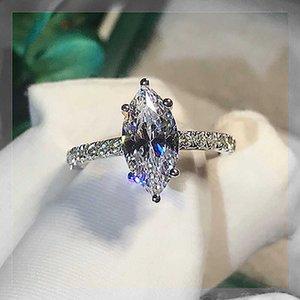 Пасьянс маркиза вырезать 2CT Лабораторное бриллиантовое кольцо 925 Стерлинговое серебро BIJOU Обручальные кольца для женщин MENL Party Jewelry Y0723