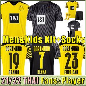 Dortmund Haaland 축구 유니폼 플레이어 버전 Reus Reyna Bellingham 축구 셔츠 Hummels Brandt Hazard Jersey Shirt Kids Men Full Set Kit Socks 2021/22