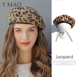 Sombrero de mujer boina linda sombreros de vendimia para mujeres leopardo sentado sombrero beanie w invierno sombrero 2020 boina de mujer con visera caliente