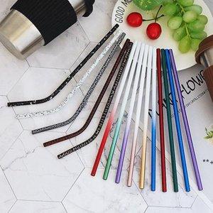 304 Stainless Steel Straw Gradient Crack Pattern Coffee Milk Juice Fashion Straw Drinking Straws Kitchen Tools HHA8820