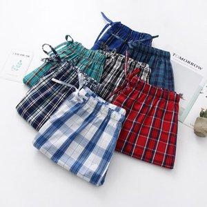 Summer Men 100% Cotton Sleep Bottoms Male Beach Shorts Board Casual Plaid Pajama Half Pants Swimming XXL Men's Sleepwear
