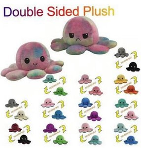 Fast Ship 23 Styles Reversible Flip Octopus Stuffed Doll Soft Double-sided Expression Plush Toy Baby Kids Gift Doll Festival Party