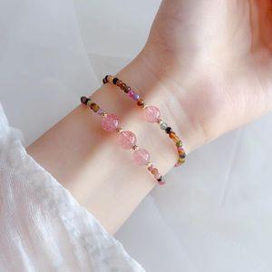 Beaded, Strands Strawberry Crystal Bracelet Female Rainbow Candy Color Charm Bracelets For Women Luxury Jewelry