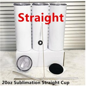 Tumbler 20 oz en acier inoxydable en acier inoxydable de 20 oz, bouteille d'eau de grand cylindre en acier inoxydable avec couvercles de paille en métal
